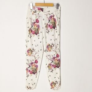 Zara Capri floral pants with buttons and zipper